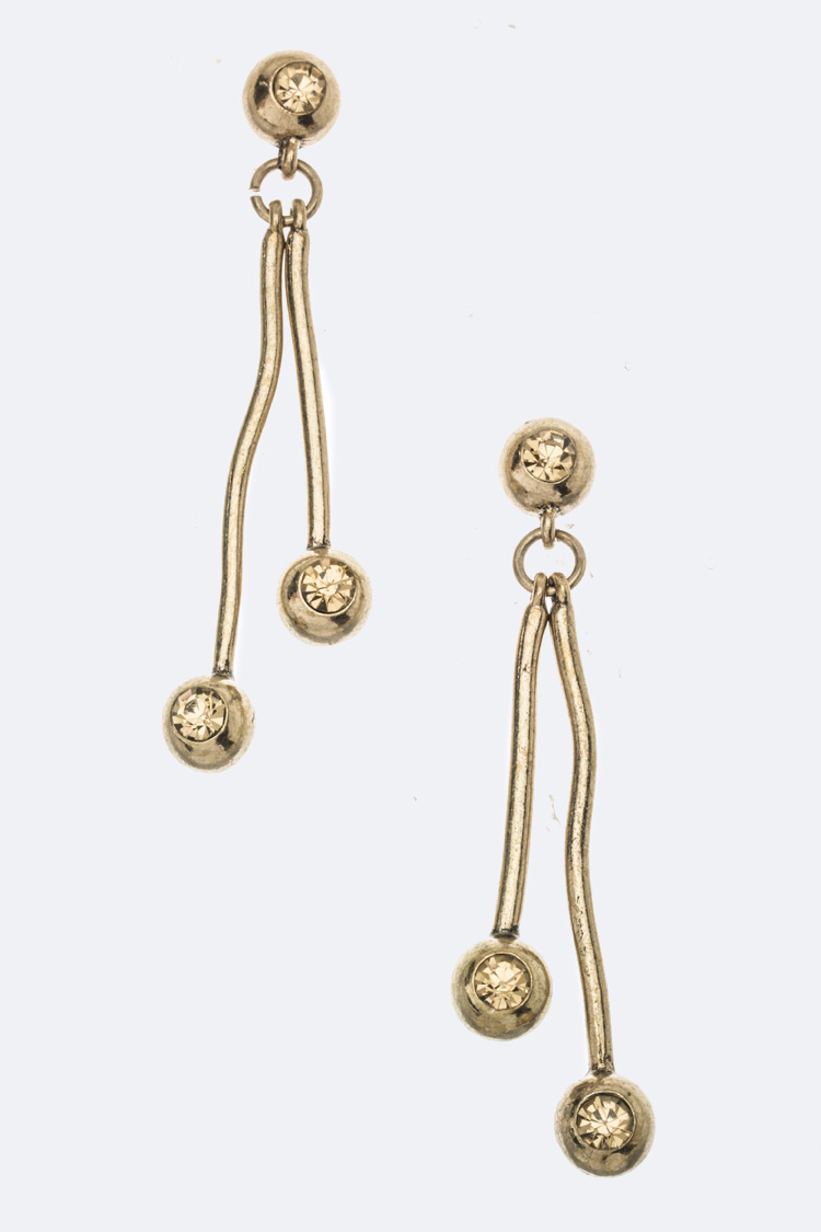 Crystal Ball Bar Earrings