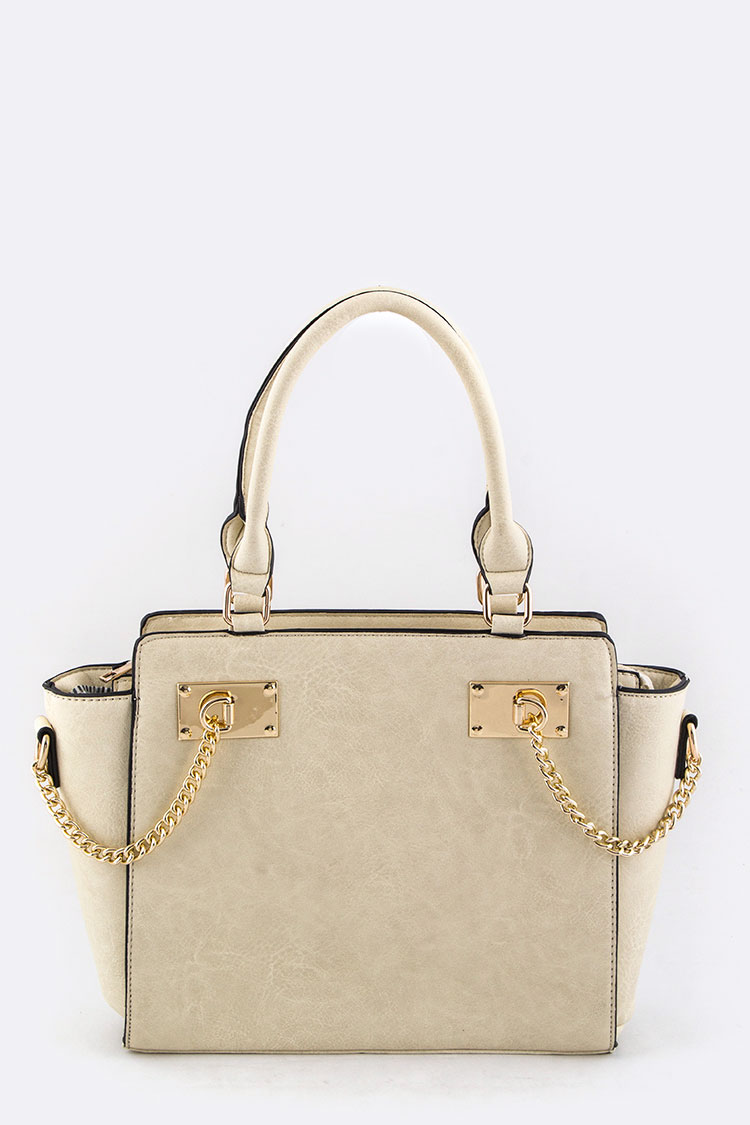 Chain Accent Leather Hand Bag