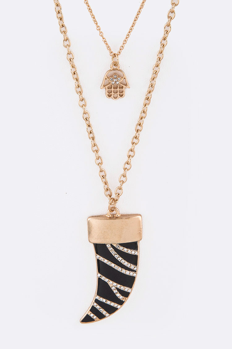 Crystal Horn & Hamsa Layered Necklace Set
