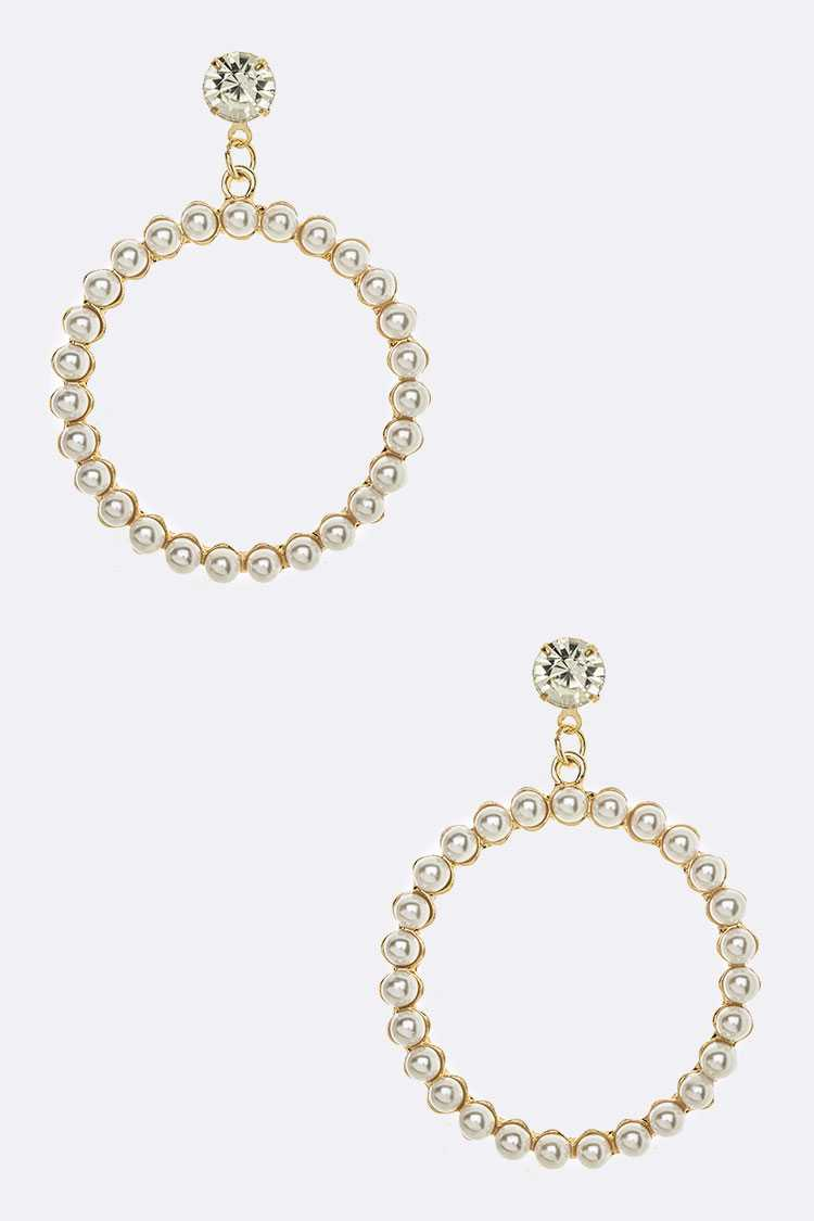 Pearl Pave Hoop Drop Earrings
