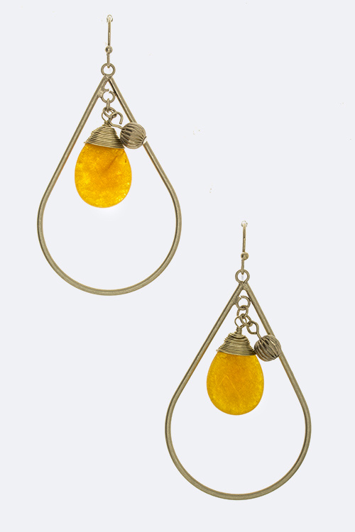 Precious Stone Wired Teardrop Dangle Earrings