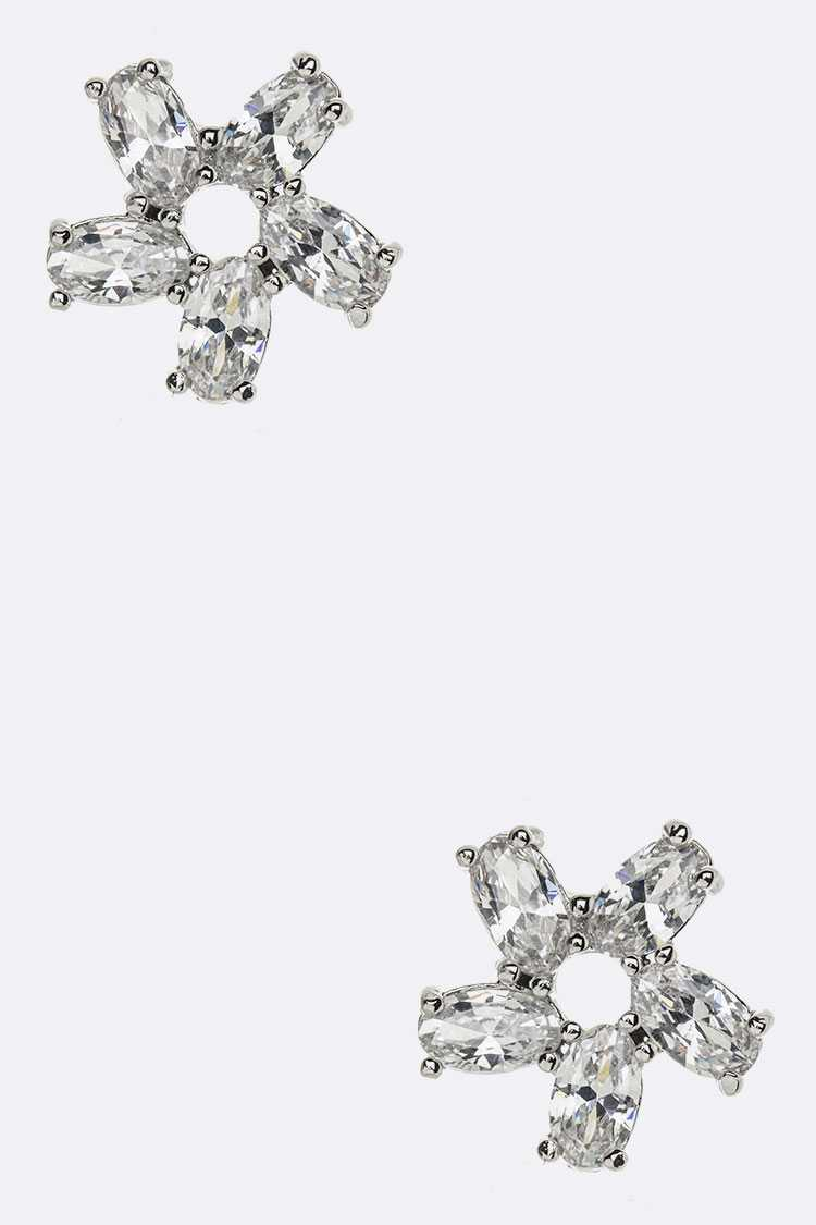CZ Flower Stud Earrings