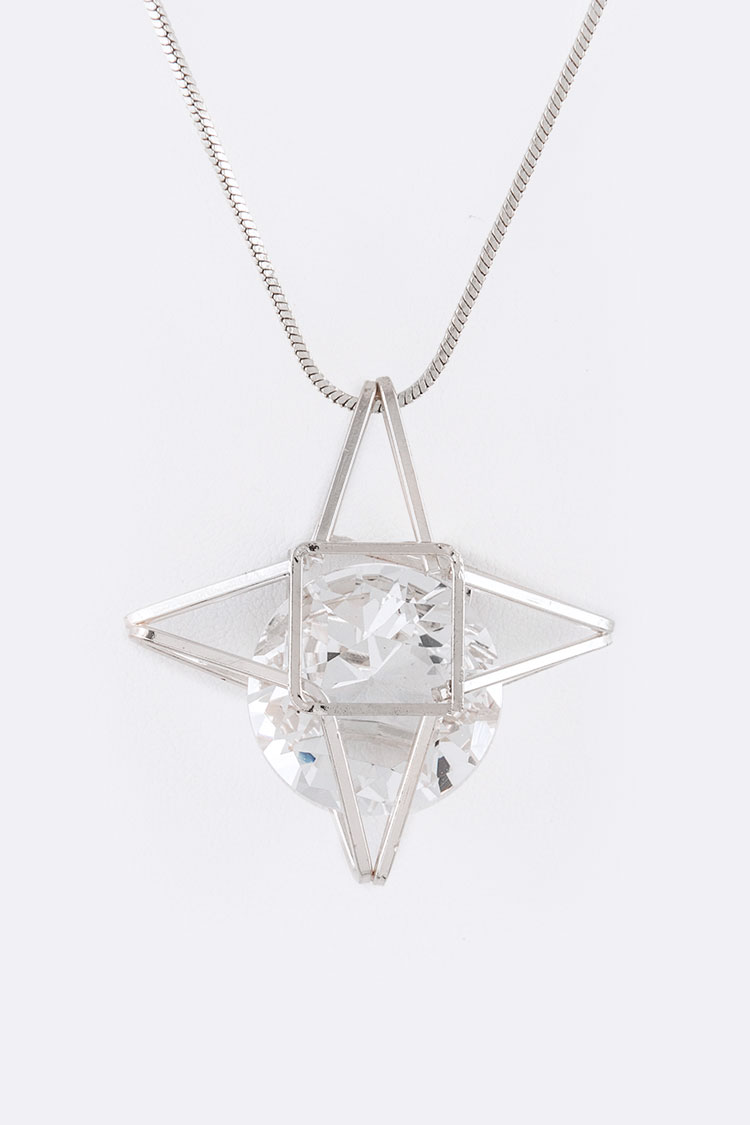 CZ Floating Star Pendant Necklace