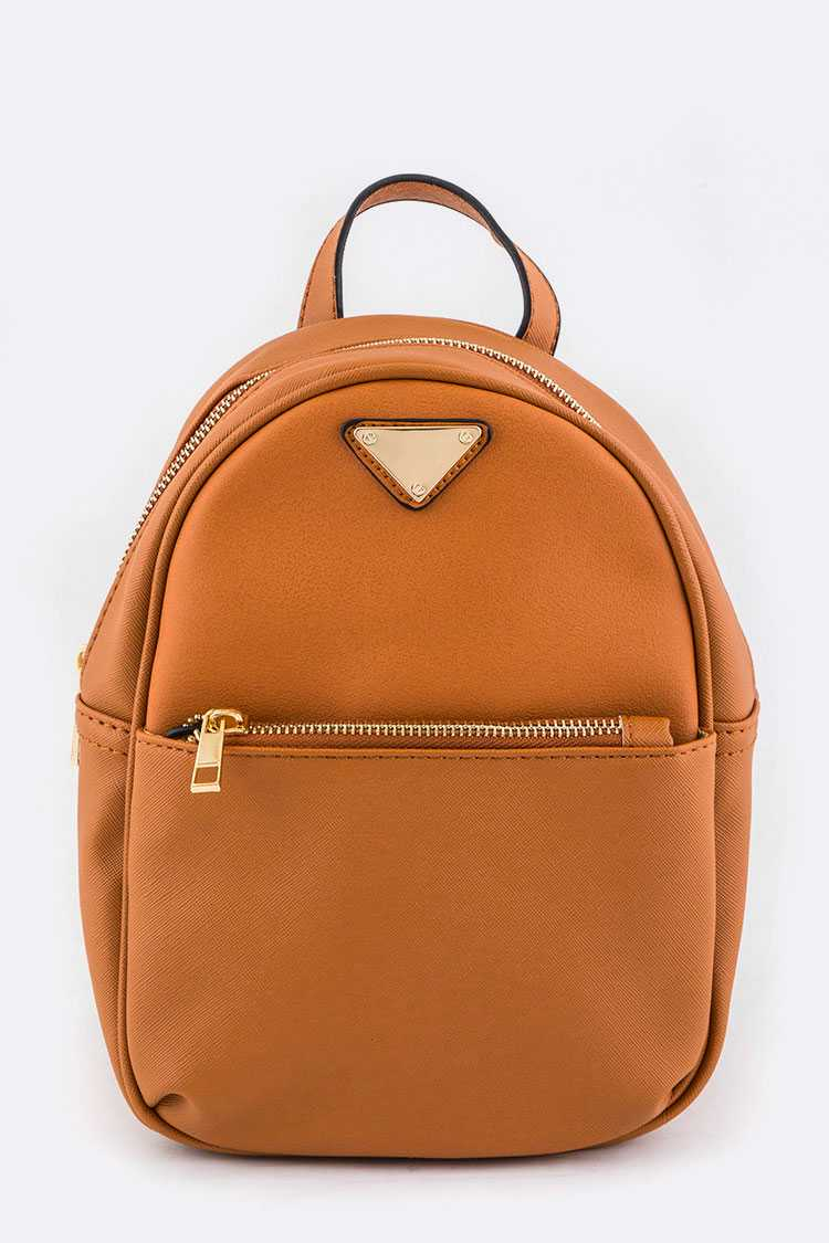 Triangle Plate Accent Mini Backpack