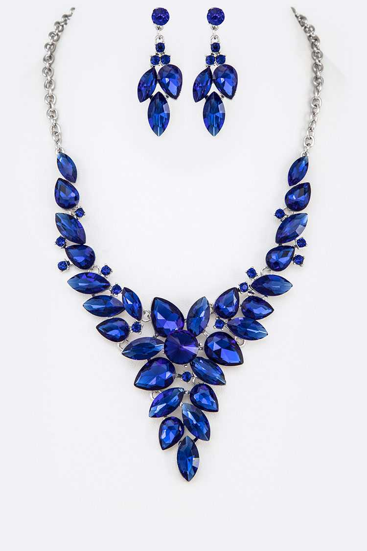 Sapphire Crystal Statement Necklace Set