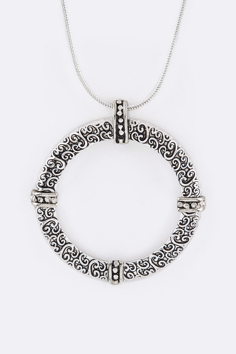 Swirl Embossed Hoop Pendant Necklace
