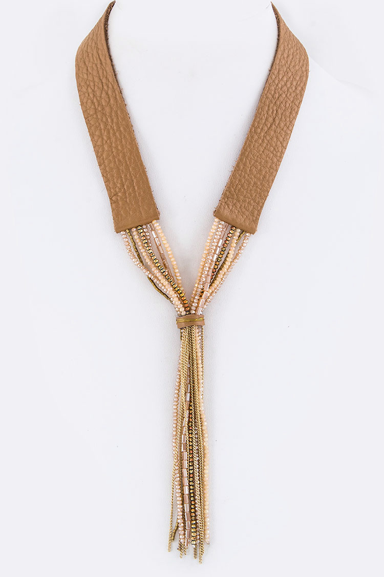 Mix Beads Tassels Soft Leather Knotted Necklace