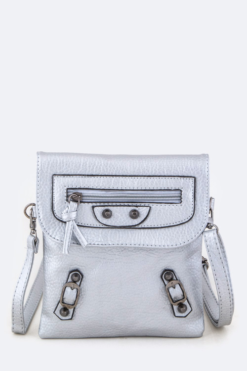 Buckled Accents Crossbody Swing Bag