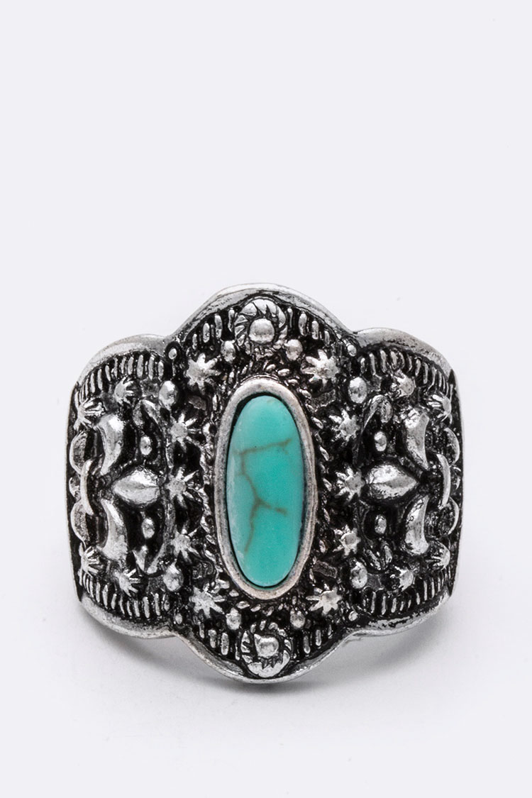 Fleur De Lis Embossed Turquoise Stretch Ring