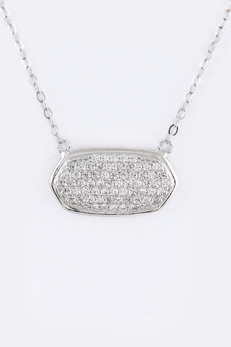 Pave CZ Oval Pendant Necklace
