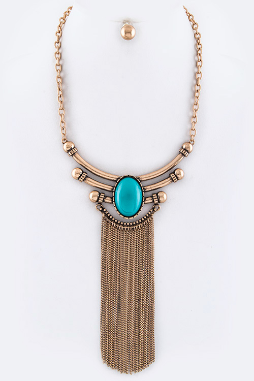 Oval Stone & Fringe Chains Iconic Collar Necklace Set