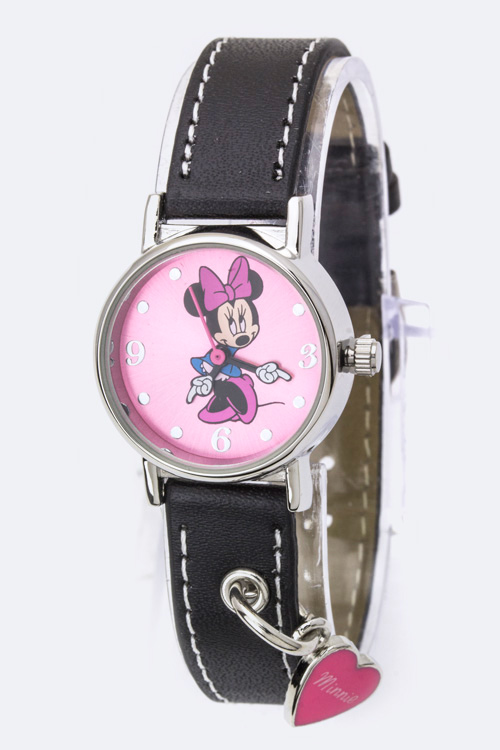 Busy Hands Minnie Heart Charm Fashion Watch