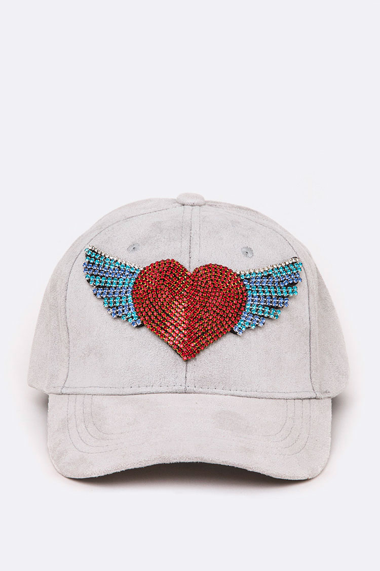 Crystal Heart & Wings Iconic Suede Cap