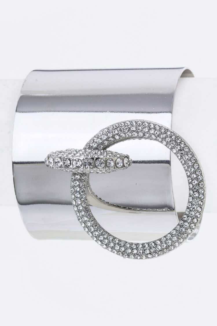 Crystal Hooped Metal Cuff