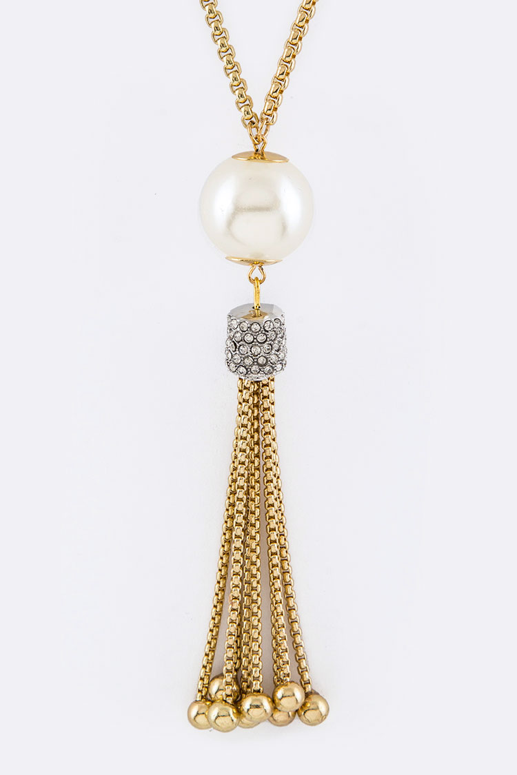 Pearl & Crystal Tassel Pendant Necklace