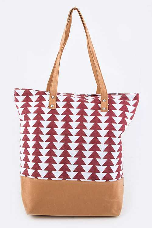 Arrow Print Sueded Bottom Fashion Magazine Tote