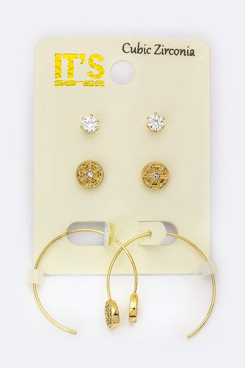 Mix CZ Studs & Hoops Set