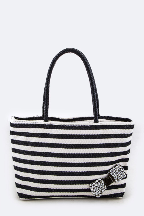 Beaded Bow Stripe Canvas Tote