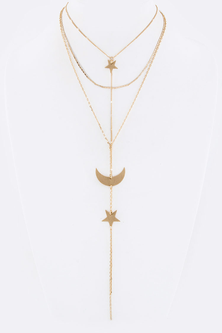 Metal Crescent & Star Drop Layer Necklace