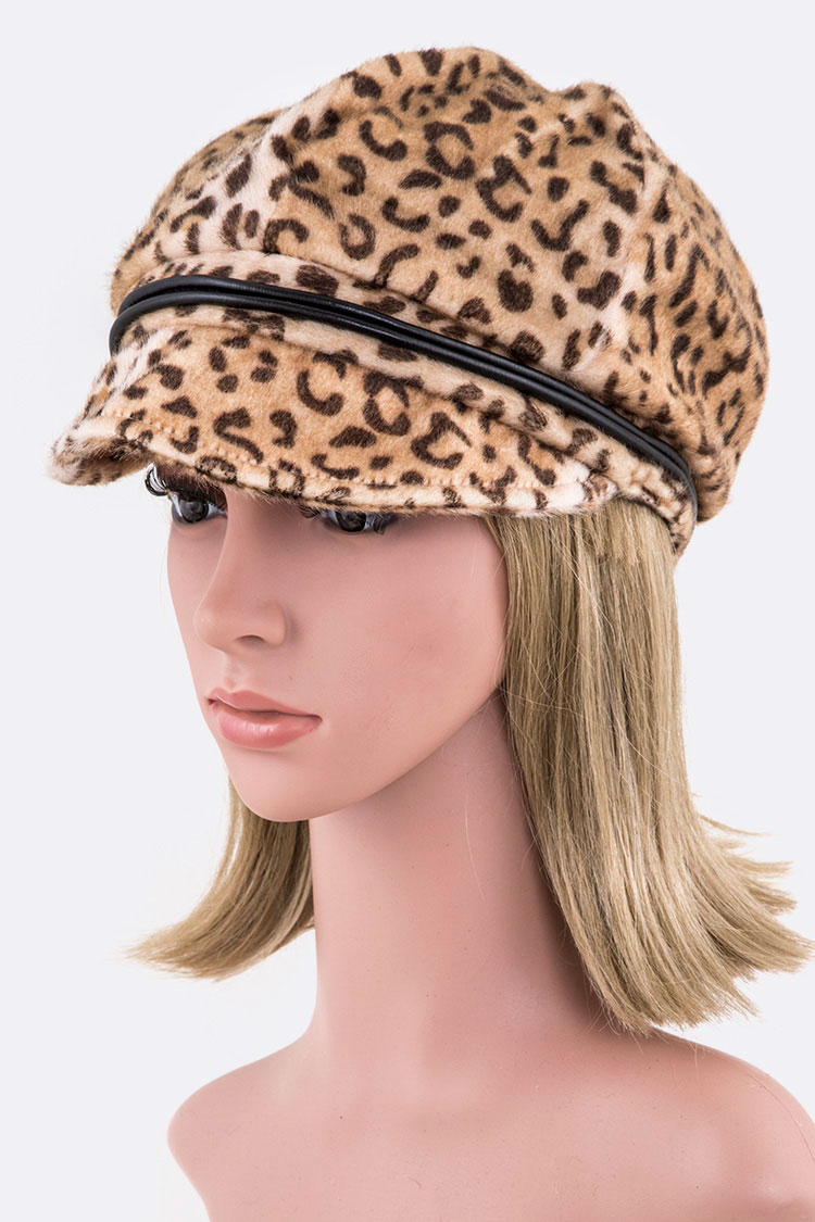 Faux Fur Leopard Cabbie Hat