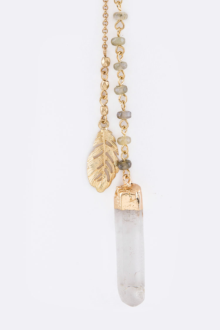 Metal Feather & Quartz Drops Layer Necklace