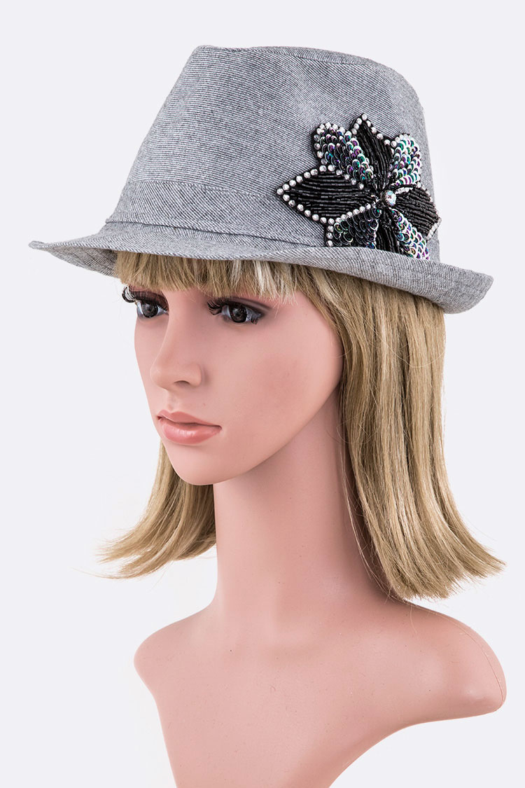 Beaded Flower Glitter Fedora