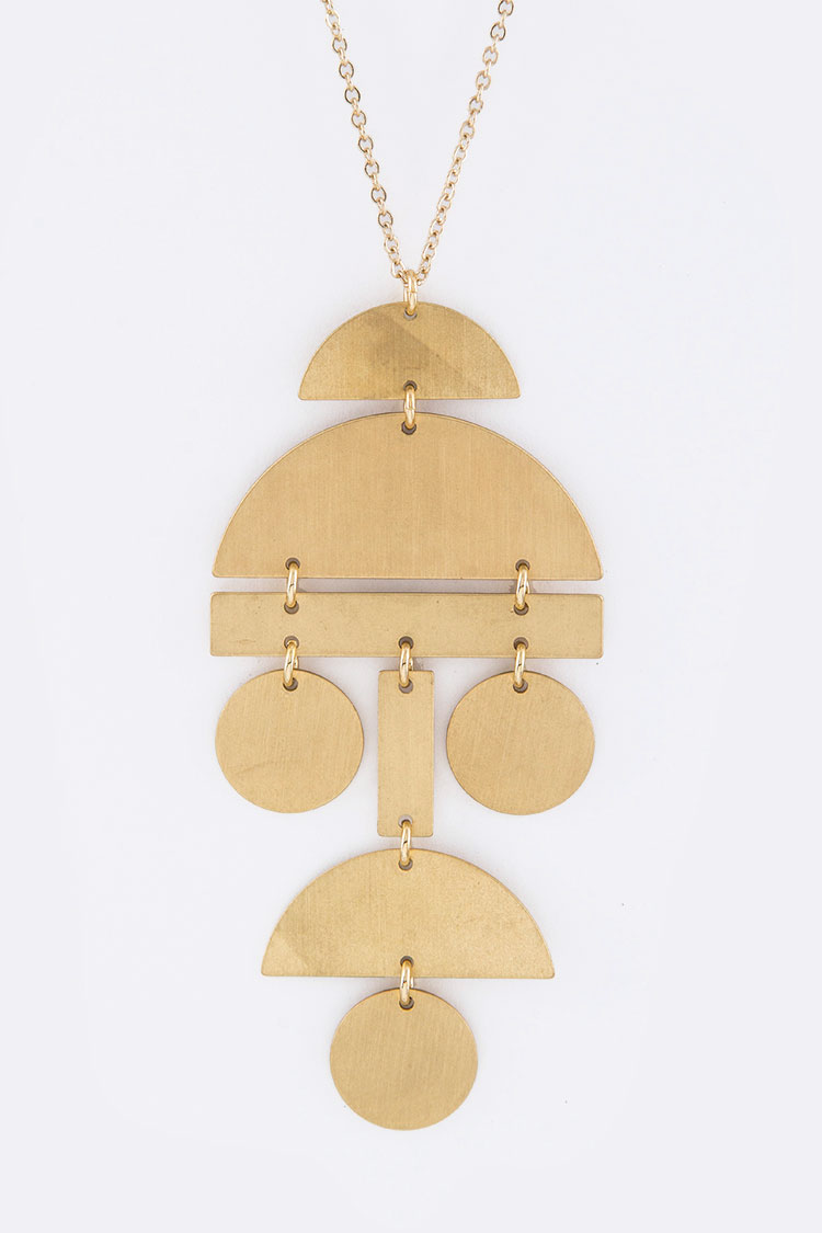 Brass Plates Charm Necklace