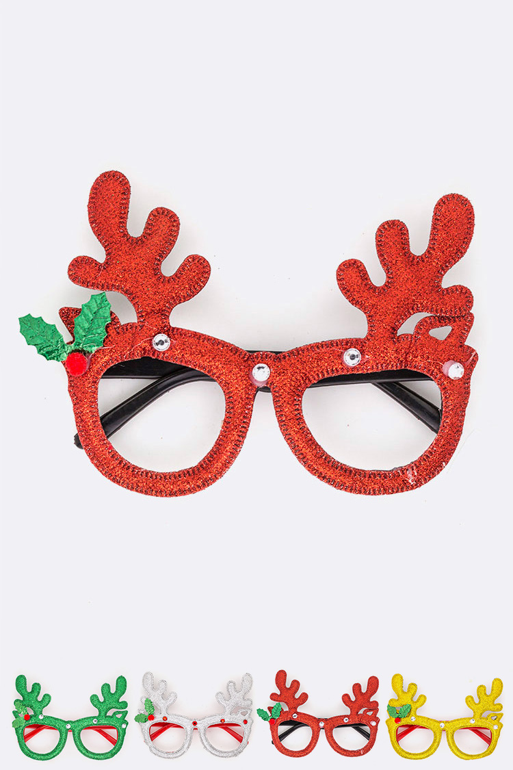Deer Antlers Glitter Iconic Glasses