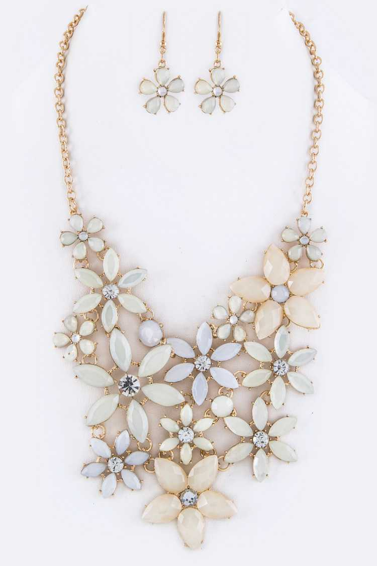 Crystal Flowers Statement Necklace Set