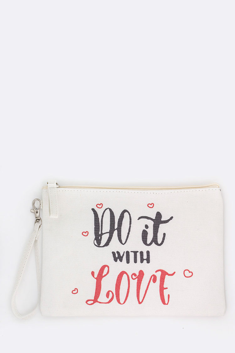 Do It With Love Printed Canvas Pouch
