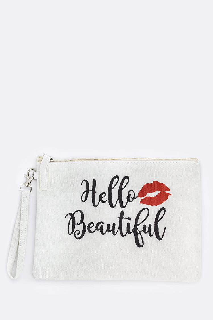 Hello Beautiful Printed Canvas Pouch