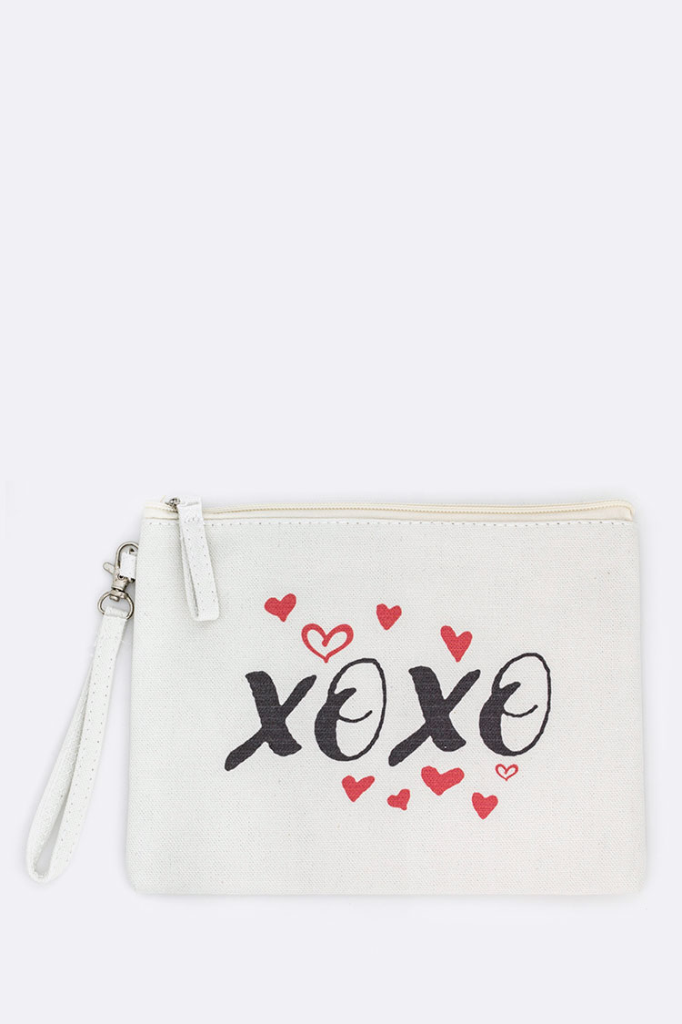 XOXO Printed Canvas Pouch