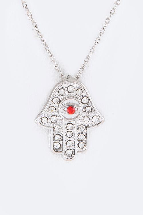 Petite Crystal Hamsa Pendant Necklace