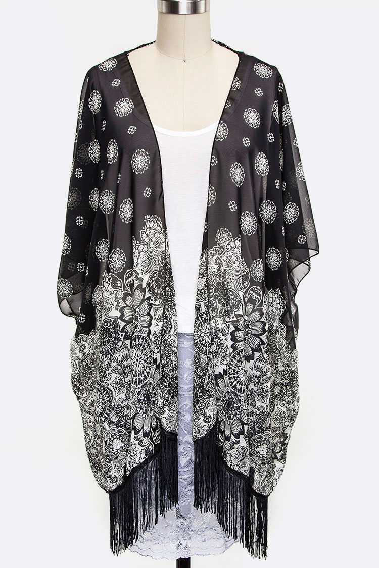 Lace Back Flower Print Cardigans