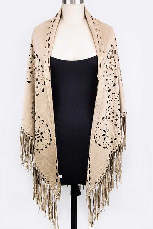 Perforated Pattern Suede Fringe Shawl