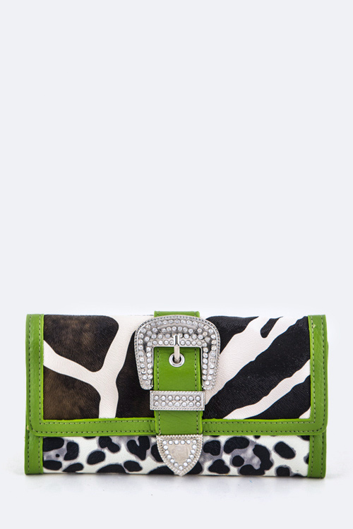 Cow Print Buckled Tri-Fold Wallet