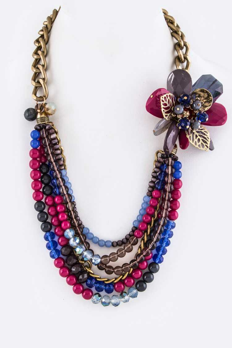 Mix Beads Layer & Flower Necklace