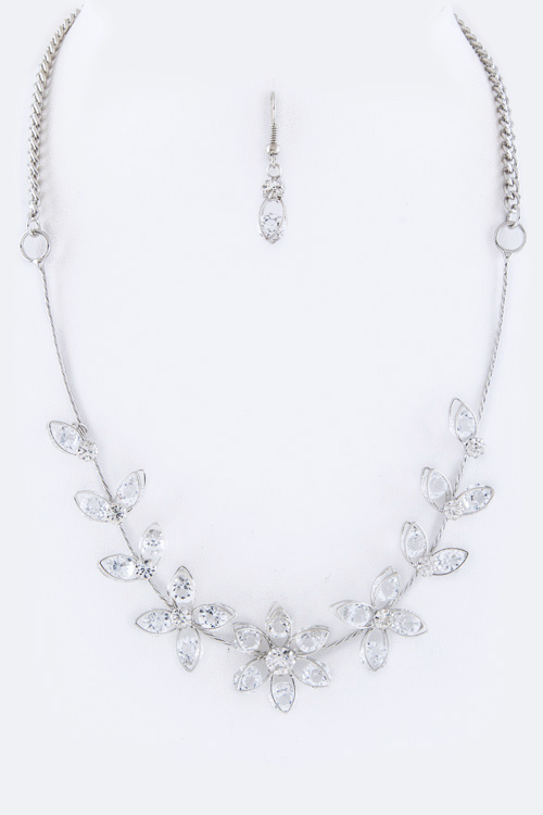 Crystal Flowers Wire Necklace Set