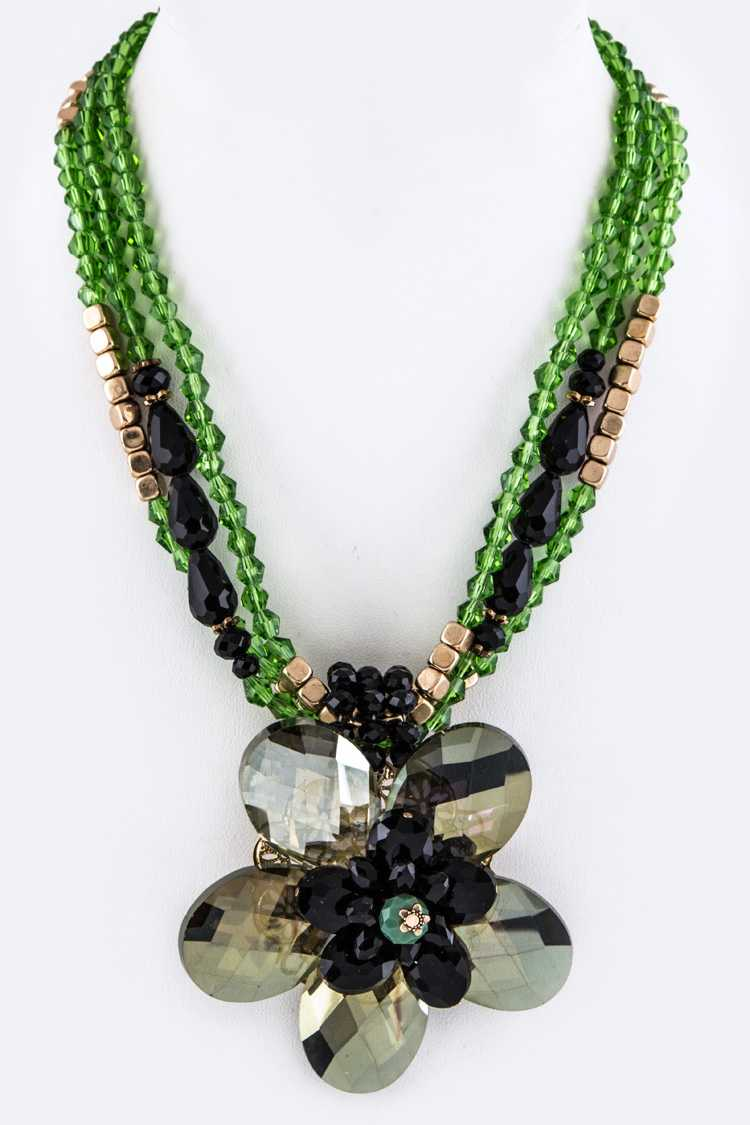 Jumbo Crystal Flower & Mix Beads Layer Necklace