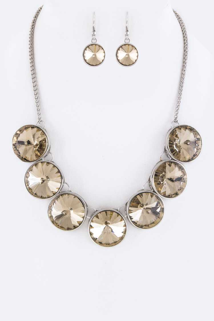 Round Crystals Statement Necklace Set