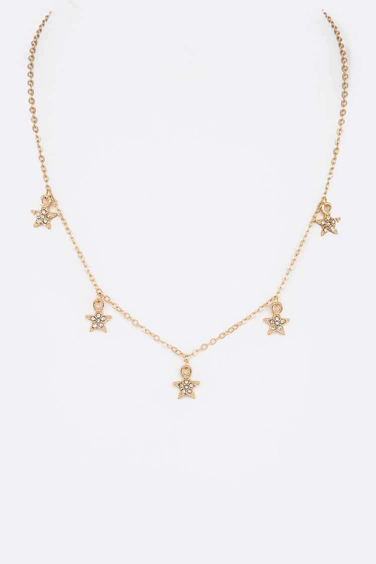 Fringe Crystal Star Charm Necklace