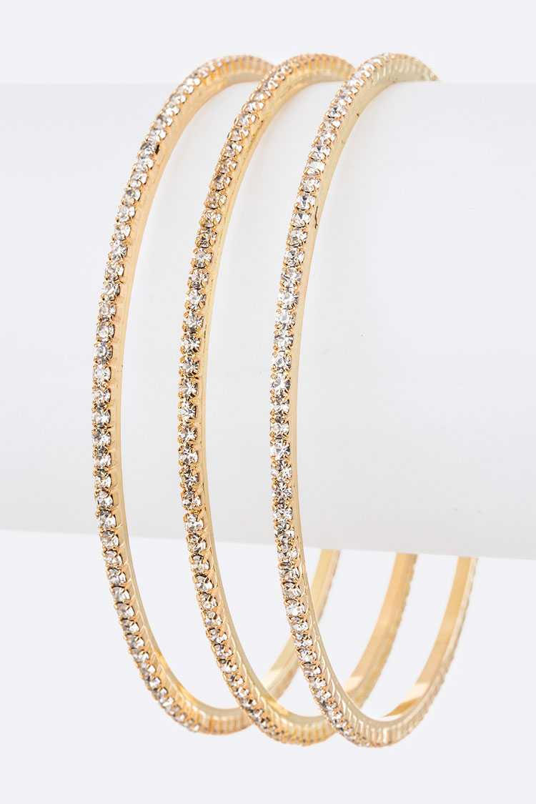 Triple Skinny Rhinestone Rim Bangle Set