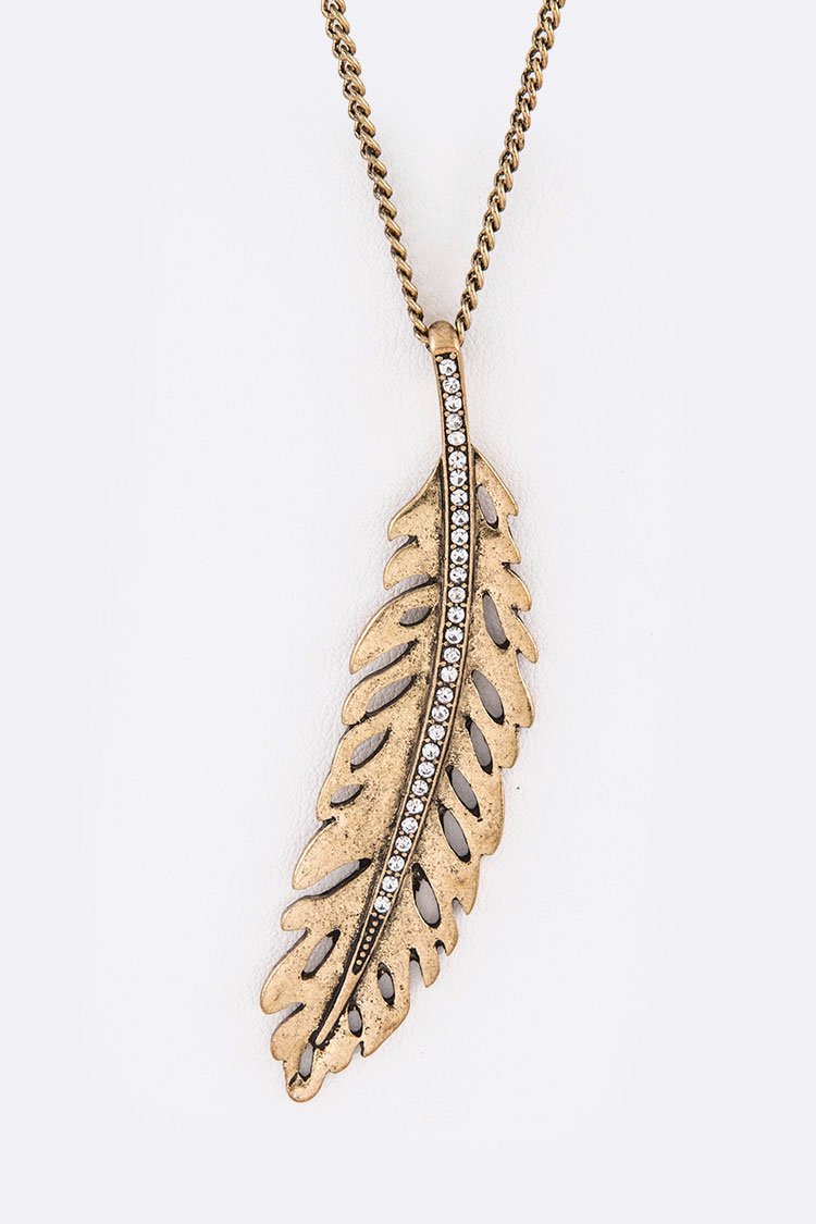 Crystal Cutout Feather Pendant Necklace