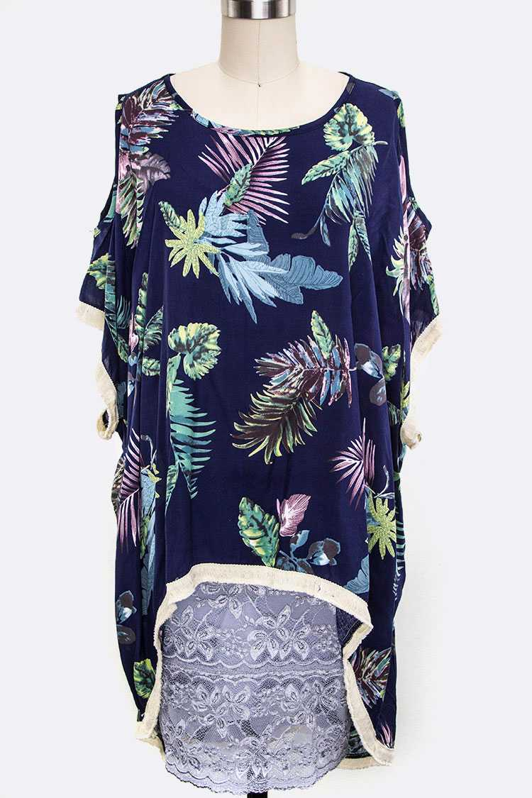 Leaf Print Shoulder-less Poncho