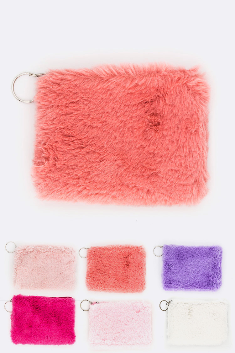 Soft Fur Cosmetic Pouch Set