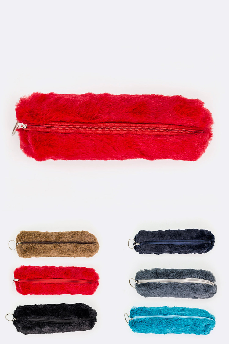 Faux Fur Plush Pen & Cosmetic Cased