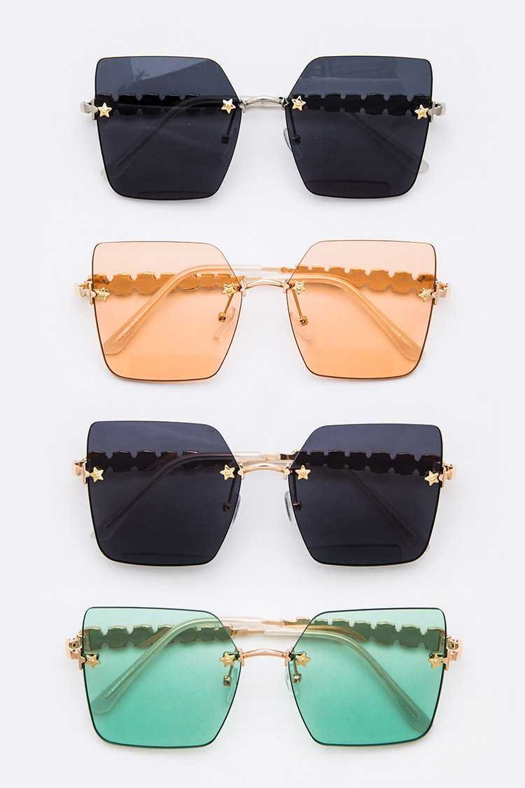 Star Accent Mix Tint Square Sunglasses Set