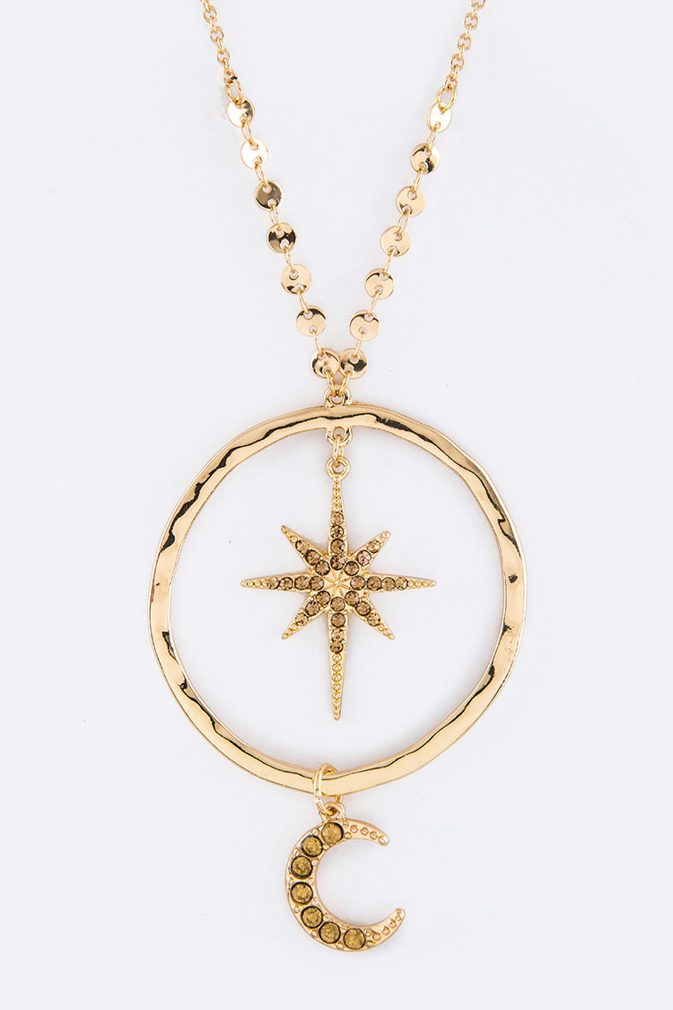 Crystal Star & Moon Hoop Pendant Necklace