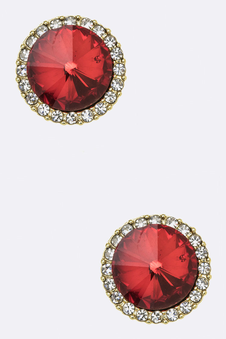 Round Crystal Button Studs