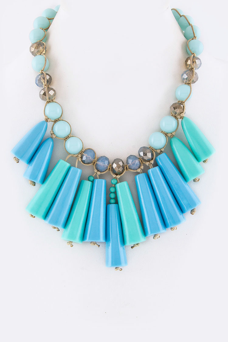 Mix Beads Statement Necklace Set